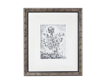 1960s Militarized Scarecrow Etching Levy Shlomo Artist's Proof Bulgarian Israeli Artist