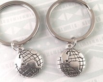 Best friend keychains, Globe Key Rings, Travel Keychains, set of 2, Best friends gifts, World Keychains, Long Distance Gift Ideas
