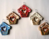 House ornaments. Set of 5 decorations, cottage ornament, home ornament, christmas ornament, new home christmas  ornament