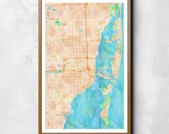 Map of Miami | Miami | Miami Art | Miami Map | Miami Print | Miami Decor | Miami Gift