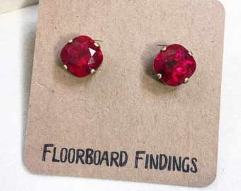 Swarovski Crystal Studs in Siam (Red)