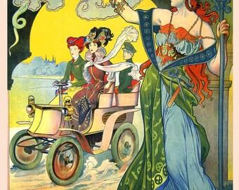 Car Fashion Lady Paris Dela Haye Automobile Paris France French Vintage Poster Repro FREE SHIPPING
