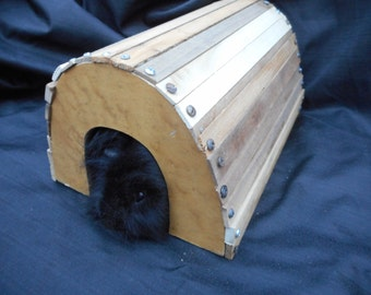 Guinea Pig House Reclaimed Hardwood Handmade Cavy Hut Small Pet Hide Tunnel of Love for Pigs SKU H86B