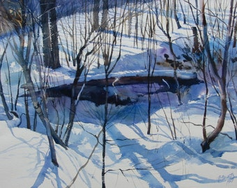 Snow scene, snow scene in the woods, fallen log in snow, 9 x 12 inch print, blues and white, woodsy scene