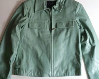 Mint Green Leather Jacket by Arma '90