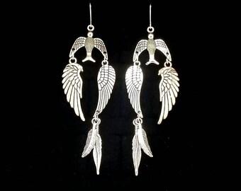 FREEBIRD, american, silver bird earrings, feather earrings, lynyrd skynyrd, hard rock, road trip, heavy metal, metalhead, esoteric, freedom
