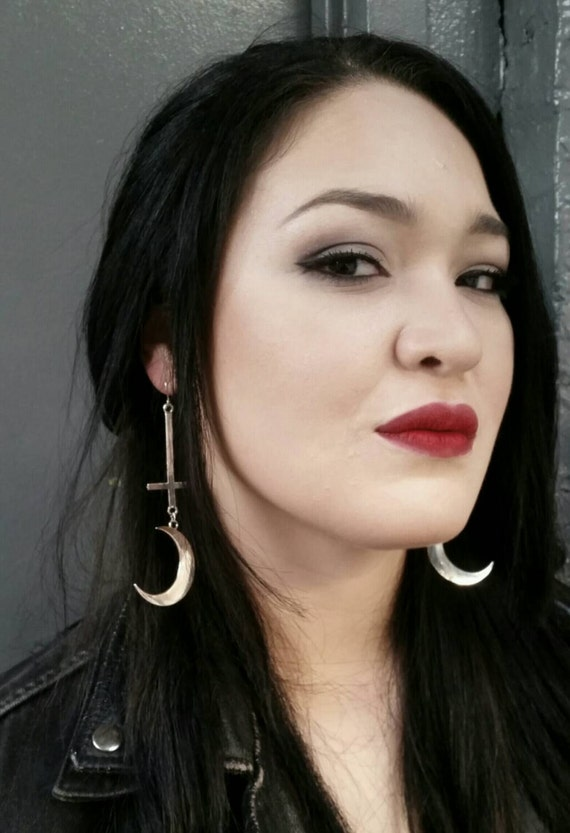 SATANIC WITCH, crescent moon earrings, boline, inverted cross, gothic, satanic symbols, blue oyster cult, countess bathory, magical, wiccan