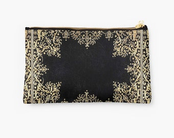 Carry-All Pouch, Black and Gold Filigree, 2 Sizes Available!