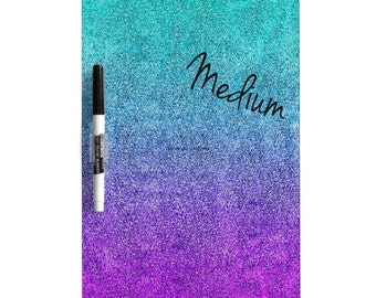 Dry Erase Board w/ Marker, Tropical Twilight Glitter Gradient, 3 Sizes Available!
