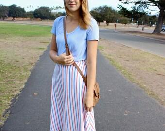 Red White & Blue Stripe A-line Skirt, Highwaisted Skirt, Flared Skirt, Patriotic Skirt, Knee Length