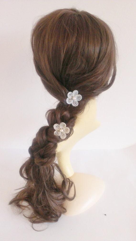 White Flower Hair Pin Flower Girl Hair Accessories Beaded