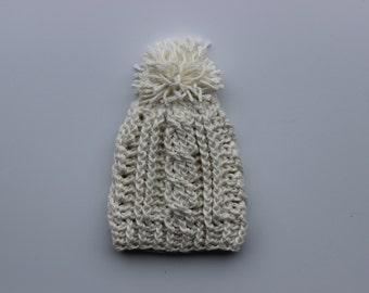 Newborn-Size Bamboo Silk Cabled Crochet Hat