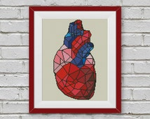 BOGO FREE! Geometric Heart Cross Stitch Pattern, Human Heart Cross Stitch Human Anatomy Modern Decor Embroidery PDF Instant Download #025-13