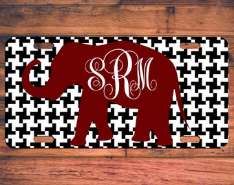ROLL TIDE Monogrammed License Plate Houndstooth Elephant Alabama Custom Vanity Front Car Tag Monogram Customized Personalized Name Fan Gift