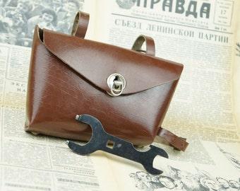 USSR Bicycle saddle bag vintage, brown seat bag, brown leather pouch, Soviet bicycle bag