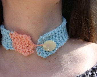 Pink and Blue Pastel Knit Choker
