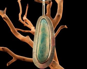Green Amazonite in Sterling Silver Pendant