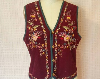 GIANT SALE Vintage Maroon Embroidered Festival Vest
