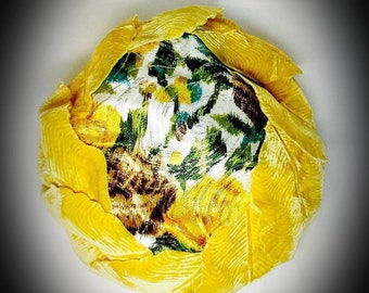 vintage floral pillbox hat with yellow velvet leaves United Hatters Caps and Millinery Workers International Union label