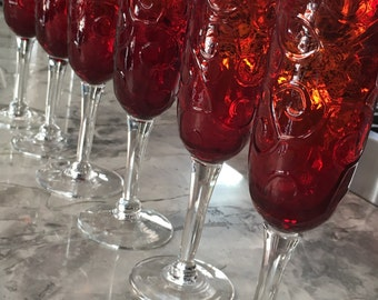 "Embossed Red ""Pidgeon Blood"" like, Bell Shaped Champagne Flutes, Set of Six"