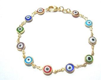 18k gold filled evil eye good luck bracelet 7.5/ pulsera de ojo