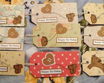 9 Woodland Birthday Gift Tags with Heart Balloon