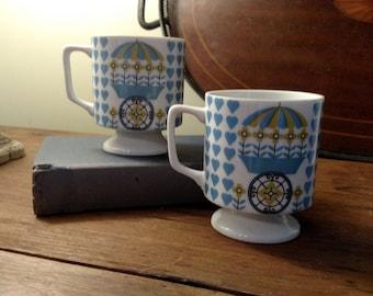 Set of Two Vintage Pedestal Mugs/ Made in Japan/Flower Power