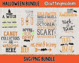 Halloween SVG Cut File Bundle - PNG Included - 10 Files- - Vinyl- Cricut- Silhouette Cameo- Diy projects-