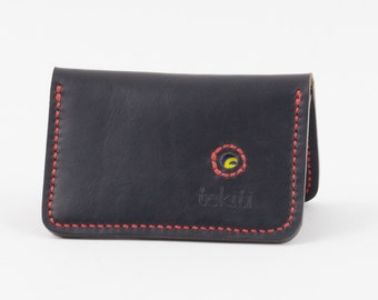 Hand made black Horween leather Wallet. Bi-fold minimalist. 4 pockets. men's wallet, women's wallet