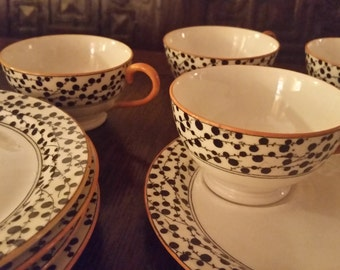 Antique Royal Doulton Porcelain Cup and Saucer Set of 6
