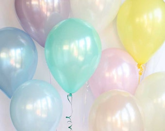 "Pastel pearl latex balloons - 11"" - Set of 9.  Pastel blue, pastel pink, peach, mint green, ivory, and lavender balloons.  Pastel balloon."