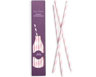 Light pink and white paper Straws - set of 24.  Pink and white striped paper straws.  Paper party straws.   Pale pink straws.  White straws.