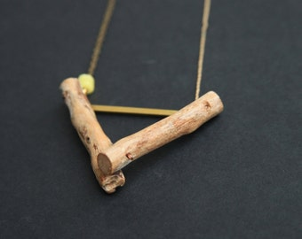 Geometric   Driftwood Necklace   Triangle Pendant Necklace