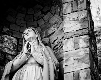 Religious Art, Catholic, Church, Mary Grotto, Wood Print, Abandoned, Industrial, Rust, Pittsburgh, Pennsylvania, Wall Art, Blessed Mother