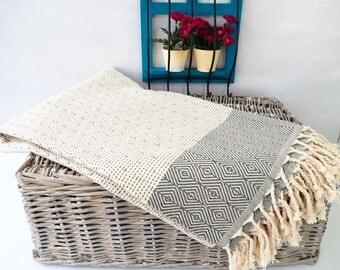 HQ  Gray Turkish Towel,Thickest Cotton Towel (20.81Oz) Beach Towel,Bath Towel,Spa Towel,Fouta,Dark Gray Hammam Towel,fouta
