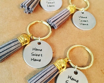 "Tassel key chain Hand Stamped ""Home Sweet Home"" leather tassel keychain / House warming gift / New home buyer gifts / Realtor gift / Client"