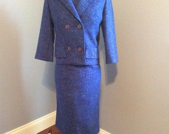 Gorgeous 3 piece wool 1960's Suit, Mad Men Style, Blue Wool, Vintage, 1960s Woman's Suit, Jackie O Suit, Small size 2 or 4