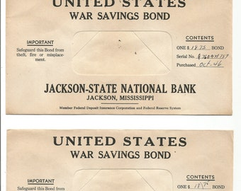 U.S. two 1946 war savings bond envelopes jackson-state national bank