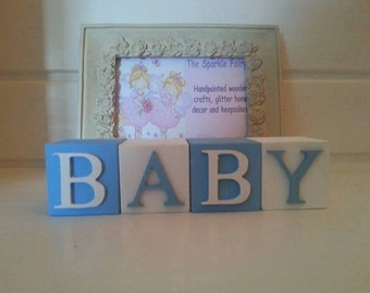 Personalised Hand Painted Wooden Newborn Christening Gift Baby Boy Name Blocks