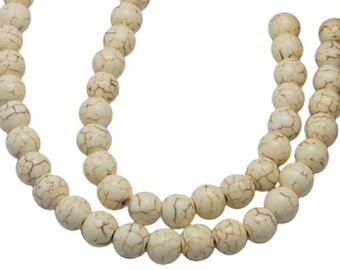 Natural Ivory Round Howlite Beads 8mm (14 inch strand)