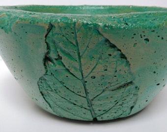 Large Concrete Leaf Bowl