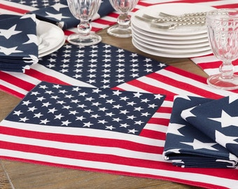 American Flag Placemat 4th Of July Placemat Stars and Stripes Red White and Blue Decorative Placemat Patriotic Décor, Set of 4
