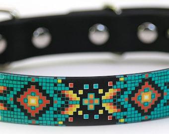 Waterproof Dog Collar - Aztec Design on Black 1 inch