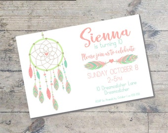 DREAM CATCHER (Pinks) Kids party invitation DIY Printable Dream catcher tribal theme party invitation