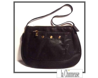 YSL BAG CANVAS/Yves St Laurent in black chocolate canvas bag / french Vintage Yves Saint Laurent Bag.