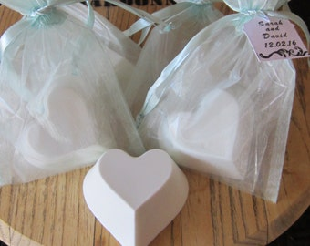 Heart Shaped Scented Goat's Milk Soap: SET of 10 with Light Blue Organza Bag and Customized Tag