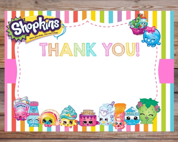 Shopkins Thank You Card Shopkins Thank You Note By