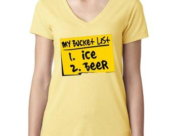 Funny Bucket list Ice&Beer V-Neck Tshirt