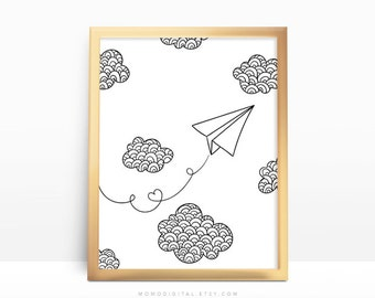 SALE -  Paper Airplane, Hand Drawn Doodle Sketch Drawing, Black White Modernism, Baby Nursery, Paper Origami Print, Contemporary