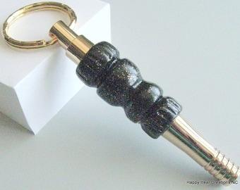 Gold 24K Key ring whistle - whistle key ring - security whistle - polymer clay whistle key ring - black glitter key ring whistle  - whistle